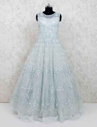 Latest designer floor length net blue gown for wedding