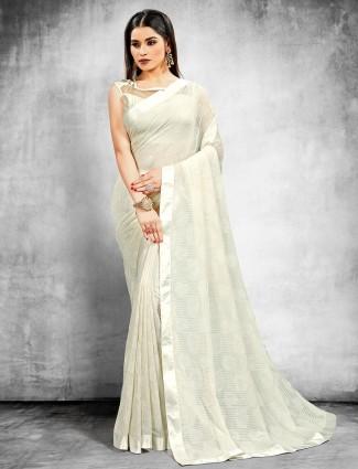 Latest designer georgette party wear saree in white