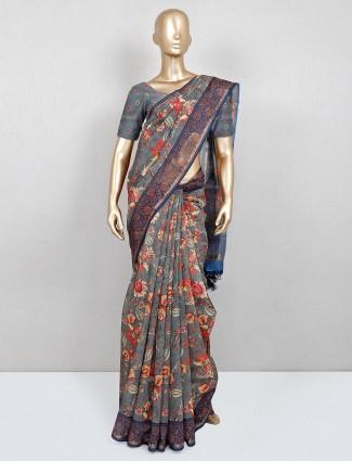 Latest designer grey and orange printed cotton festive wear saree