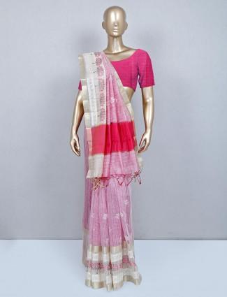 Latest designer pink cotton wedding wear saree