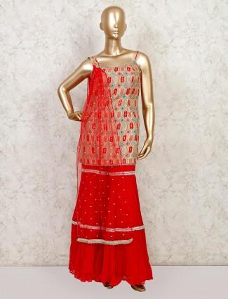 Latest designer red colored silk sharara salwar suit for wedding