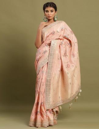 Latest festive wear peach colour saree