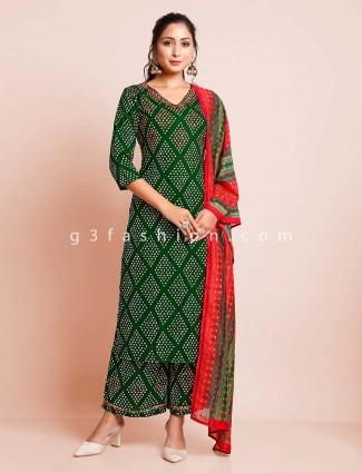 Latest green cotton festive wear palazzo suit