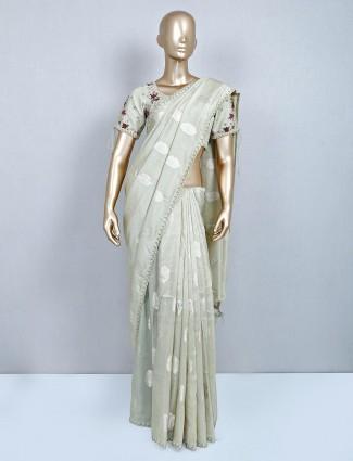Latest pista green cotton wedding wear sari