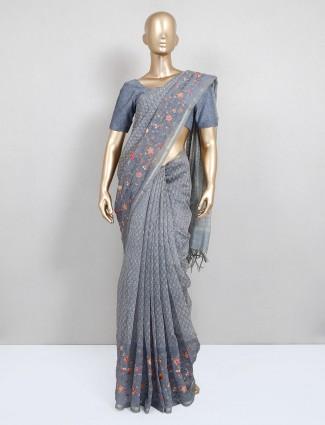 Latest grey cotton festive wear saree