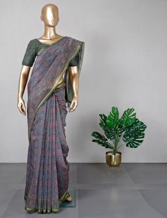 Latest grey cotton silk festive wear saree