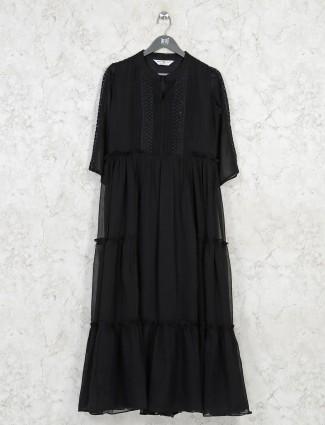 Latest layered georgette casual black kurti