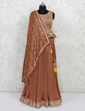 Latest light brown silk lehenga style salwar suit for wedding