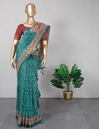 Latest light green cotton silk saree for festive