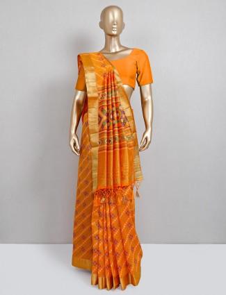 Latest mustard yellow cotton silk festive saree
