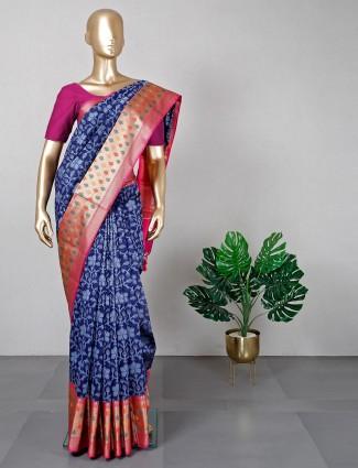Latest navy and pink banarasi cotton silk festive wear saree