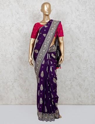 Latest navy festive wear dola silk saree