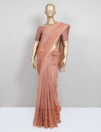 Latest peach cotton printed festive saree