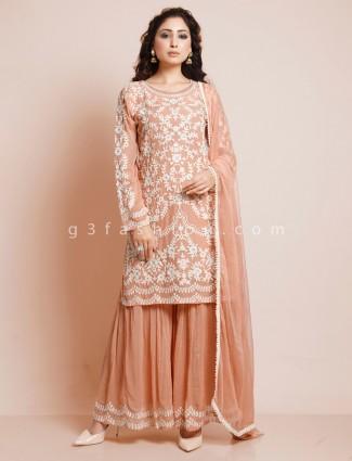 Latest peach cotton punjabi suit for party