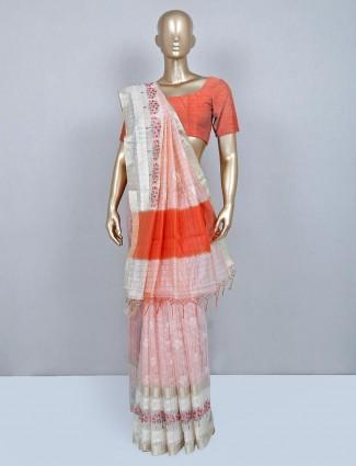 Latest peach cotton wedding wear saree