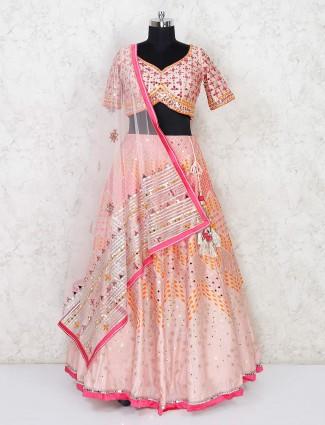 Latest peach designer lehenga choli for wedding in silk