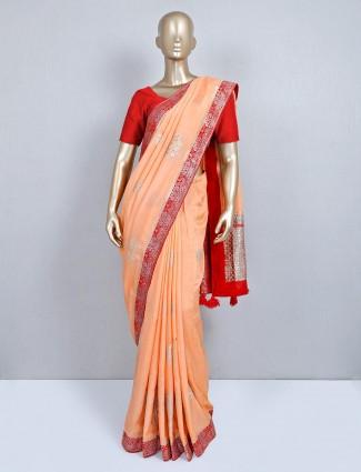 Latest peach semi silk wedding saree