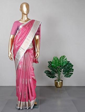 Latest pink banarasi cotton silk festive wear saree