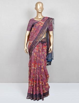 Latest pink cotton festive wear saree