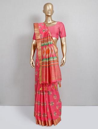 Latest pink designer cotton silk festive wear saree
