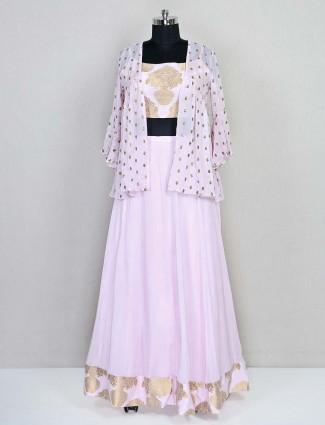 Latest pink georgette designer lehenga style salwar suit