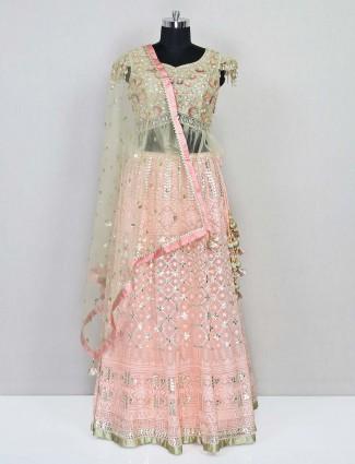 Latest pink net wedding wear deisgner lehenga choli