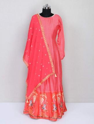 Latest pink printed anarkali style salwar kameez