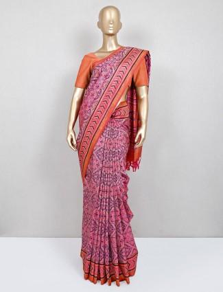 Latest pink printed cotton festive wear saree