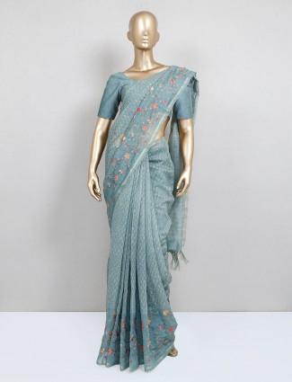 Latest printed green festive wear saree