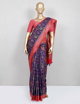 Latest purple saree for women in banarasi cotton silk