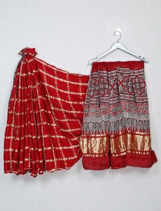 Latest red bandhej festive wear saree for women