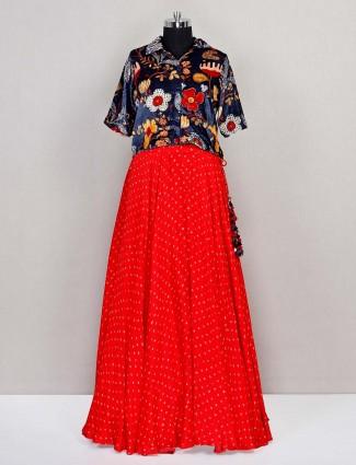 Latest red georgette party wear lehenga choli