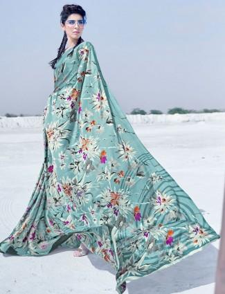 Latest sea green printed satin saree for festive