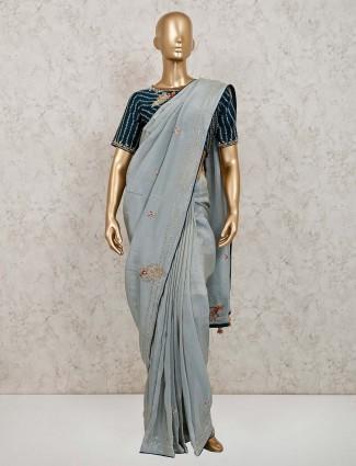 Latest sky blue colour satin festive session saree