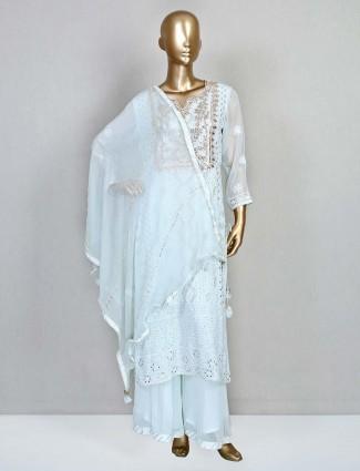 Latest sky blue georgette festive salwar kameez