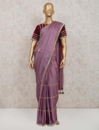 Latest violet colour party wear satin saree