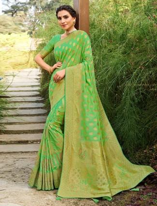 Latest wedding pista green wedding session saree