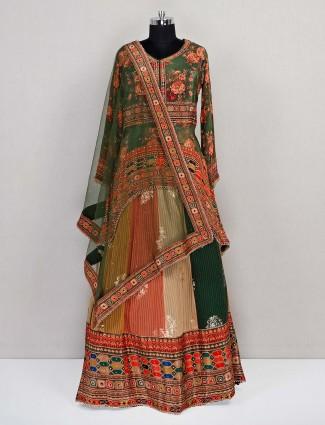 Latest wedding wear georgette multi colored lehenga choli