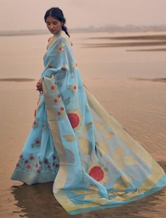 Latest wedding wear sky blue colour linen saree