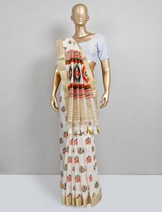 Latest white cotton silk festive wear saree