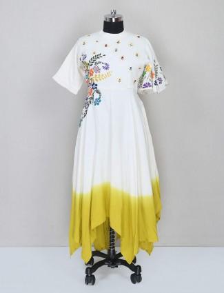 Latest white printed sharara salwar kameez for festive wear