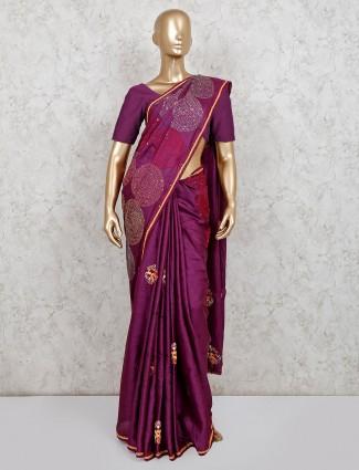 Latest wine designer handloom cotton saree