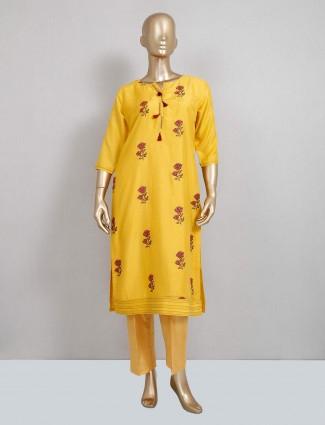 Latest yellow cotton pant style salwar kameez