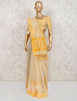 Latest yellow cotton saree
