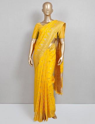 Latest yellow dola silk saree for wedding