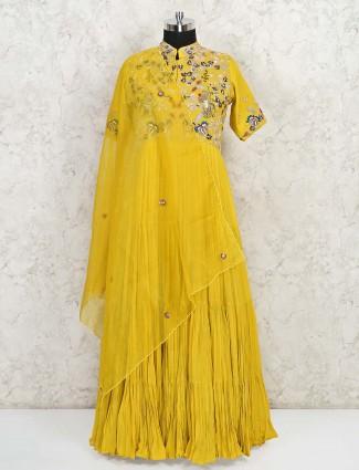 Latest yellow georgette wedding wear gown