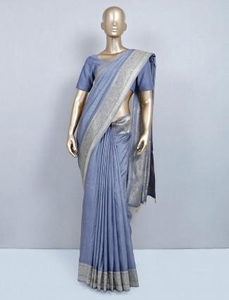 Lavish grey cotton silk saree for festive occasions