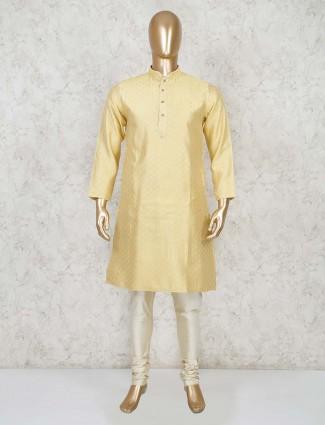 Lemon yellow cotton festive wear kurta suit