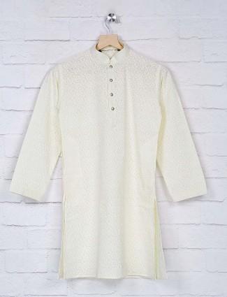 Lemon yellow hue georgette fabric kurta suit