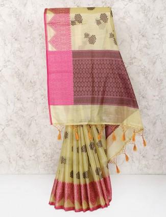 Lemon yellow saree in semi silk fabric